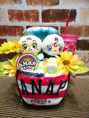 おむつケーキ/オムツケーキ/ANAP/アナップ/出産祝い/誕生祝い/お祝い/アンパンマン/メロンパンナ/ロールパンナ/プリちぃビーンズ/ディズニー/おむつベビーカー/おむつバイク