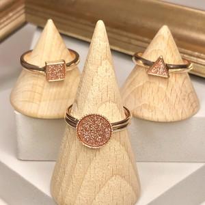 ○△□ coral glitter rings set / コーラルグリッターリングセット