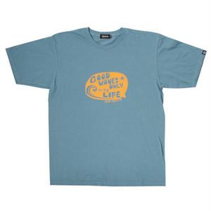 後染めプリントTシャツ ブルー