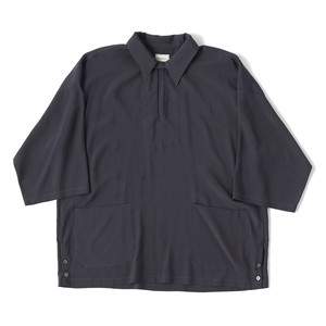 【FILL THE BILL】《MENS》RAYON SILK SKIPPER SHIRTS - CHARCOAL
