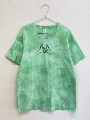 手染め半袖Tシャツ(ハートの絞り柄)