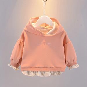 【子供服】売れ筋可愛い多色切り替え無地裏起毛スウェットパーカー・トップス24352312
