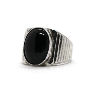 Vintage Sterling Silver Mexican Oval Onyx Ring