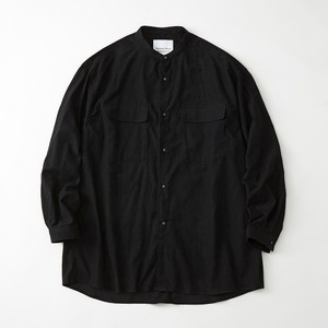 LIGHT MOLESKIN WIDE SILHOUETTE BAND COLLAR SHIRT -BLACK