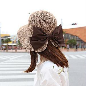 【小物】やっぱり優秀韓国風リボン付け草編み日焼け止め帽子20277326