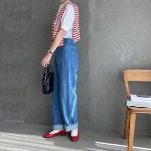 high waist straight denim【light blue】