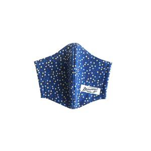 立体マスク  /  ゴム紐付き  / Small flower Blue