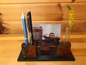 現品限り《デザインF》木製~ペン&メモスタンド~一輪挿しにも…♪