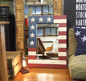Metal USA Flag Mirror  Lサイズ