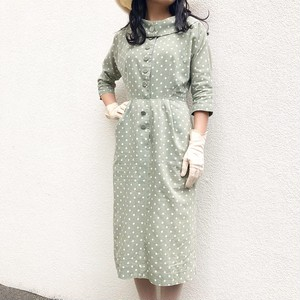 VINTAGE green dot dress