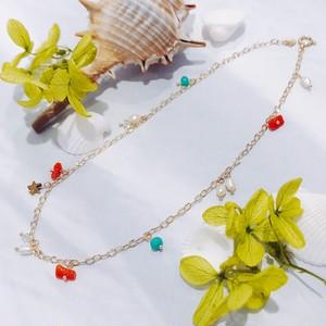 【CORALIA】ビーチ 004 アンクレット 赤珊瑚 サザレ K10
