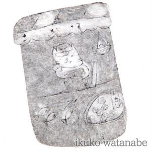 版画カード - 猫の魚屋 - わたなべいくこ - no9-wat-07