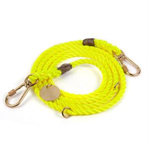 FOUND MY ANIMAL-NEON YELLOW ROPE DOG LEASH, ADJUSTABLE(ファウンドマイアニマル・ネオンイエロー・ロープ・ドッグ・リーシュ・アジャスタブル)