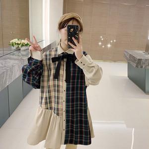 【ワンピース】レトロチェック柄配色リボン付きシャツワンピース