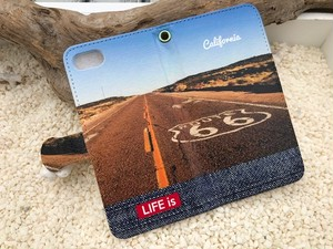 LIFE is California Route 66手帳型スマホケース iPhone5~8、Android(S,M)用