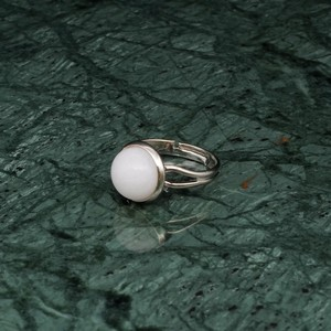 ROUND STONE RING SILVER 002