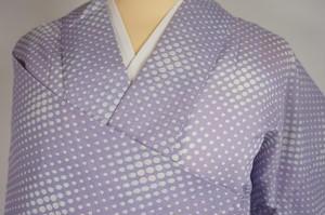 【夏】洗える着物 絽 小紋 水玉 化繊 紫 淡藤色 223