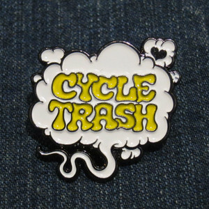 "Cycle Trash ""Fart"" logo pin badge, std: wht/yel"
