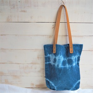 Leather Handle Lace Tote Bag《INDIGO》C