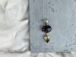 〈vintage silver925〉multistone necklace(black×citrine)