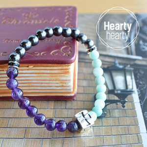 【TRIANGLE Purple】 パワーストーン ブレスレット レディース メンズ 天然石 アメジスト アマゾナイト ヘマタイト メタルパーツ[送料無料]