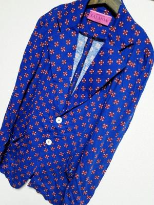 【2550】ジャケット ブルー小花柄