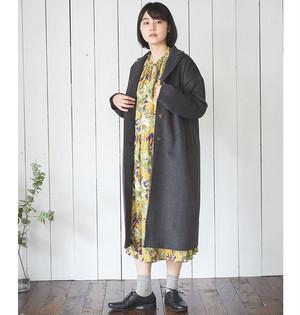 【CALINER】微起毛水彩花柄フリルネック切替ワンピース