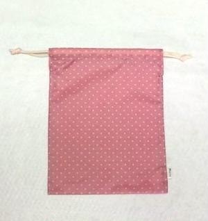 携帯用シューズ袋(ハーフサイズ) ドット柄 ローズピンク