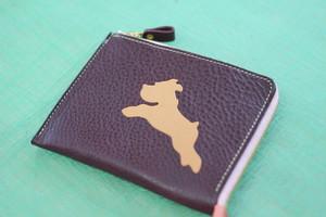L字型ミニ財布 パープル✖シュナ生成り