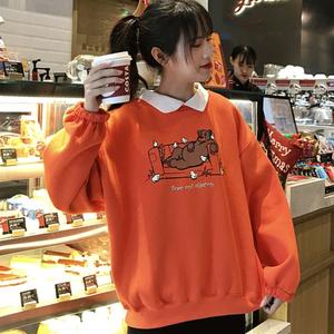 【トップス】原宿風ルーズファッション切り替えPOLOネックパーカー