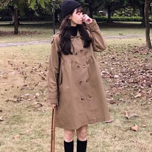 【アウター】無地折り襟長袖ゆるいトレンチコート