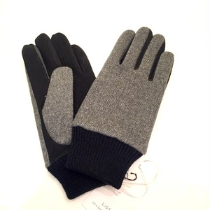 Lamb Suede Tweed Glove Light Gray
