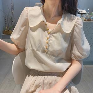 【トップス】夏新入荷ゆるいドールカラーシフォンスウィートパフスリーブ半袖シャツ