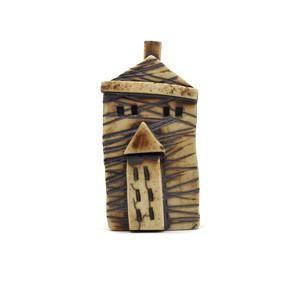 ちいさな陶器のお家 ミニチュア陶器ハウス 小人のお家 白 大 チェック DP-004