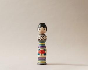 津軽系伝統こけし本人型 -4 | 阿保こけしや 阿保正文工人  / Tsugaru kokeshi- 4, purple, traditional style wooden kokeshi -black, made by Masafumi Abo, Japanese kokeshi doll
