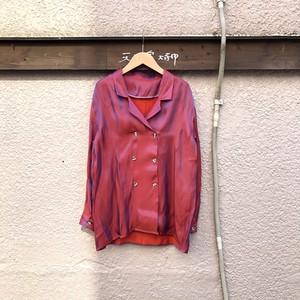 サテンダブルボタンブラウス カラー:Red