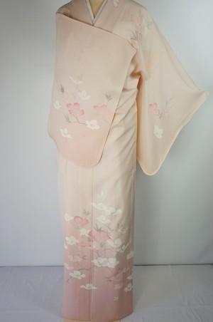 未使用【夏】手描き友禅 絽 訪問着 椿 花柄 正絹 乙女色 ピンク 519