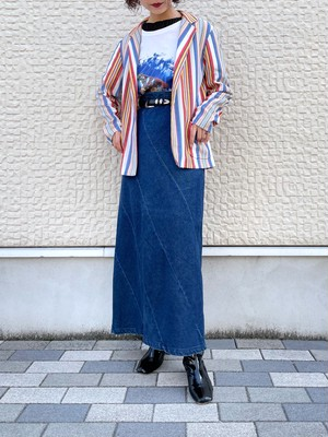 (TOYO) denim long flare skirt
