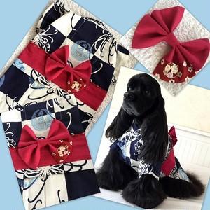 市松に菊の藍色浴衣(保冷剤ポケット付き)