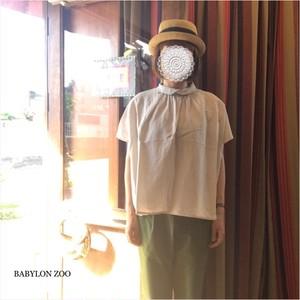 《ホワイトのみ》nachukaraの和紙コットンガーゼ クロスチビ衿 バックボタンシャツ