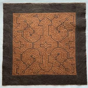 泥染め布 40x39 cm-25 中型 シピボ族の泥染め AAA