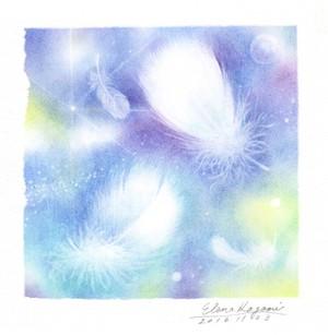 白いふわふわの羽根(原画)