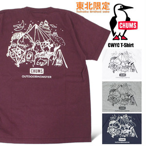 【ゆうパケット送料無料】【2020春夏新作】 CHUMS チャムス 東北限定 東北別注 半袖Tシャツ アウトドアモンスター ブービーバード キャンプ CHUMS×OM CWYC T-Shirt メンズ レディース CH01-1820