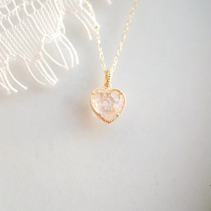 Sweet Heart 宝石質ローズクォーツ K10 ネックレス 45cmまで調整可 スライドボールつき