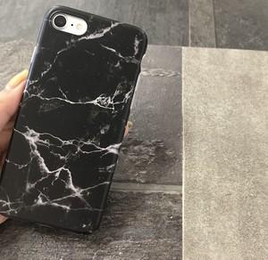 【iPhoneX/8/7】大理石柄 マーブルケース(ブラック)