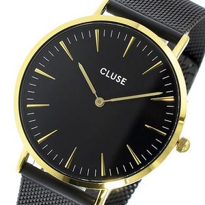 クルース CLUSE ラ・ボエーム メッシュベルト 38mm レディース 腕時計 CL18117 ゴールドブラック/ブラック ブラック