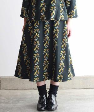 撫菜刺繍のフレアースカート  ダークグリーン (evh219-GRN)