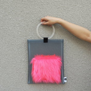 anti clone『hard tulle bag  GY/ピンク』