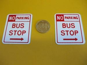 US標識・ブリキ製「BUS STOP」(2枚セット)屋外可・送料無料