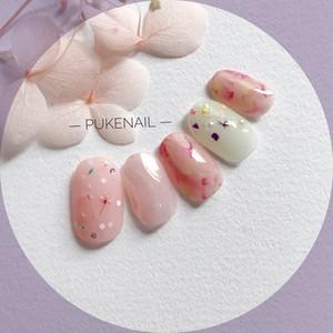 [Pukeネイル[No.297]春の花ネイル・ピンクシアー色ジェイルネイルチップ